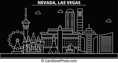 appartamento, vegas, stati uniti, silhouette, contorno, città, illustrazione, -, architettura, icone, landmarks., americano, vettore, skyline., edifici., linea, las, bandiera, viaggiare, lineare