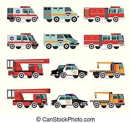 appartamento, veicoli emergenza