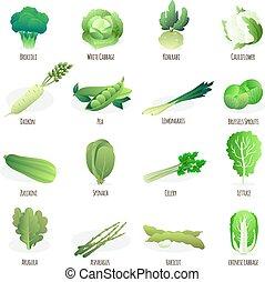 appartamento, verdura, verde, collezione, icone