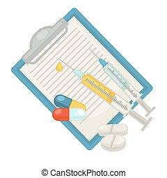 appartamento, veterinario, animale, coccolare, veterinario, clinica, vettore, diagnosi, siringa, pillole, icona
