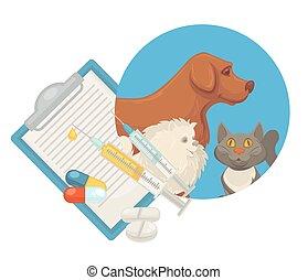 appartamento, veterinario, dottore, coccolare, veterinario, cane, gatto, clinica, vettore, animale, pillole, icona
