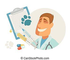 appartamento, veterinario, dottore, coccolare, veterinario, clinica, vettore, veterinario, animale, icona