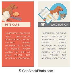 appartamento, veterinario, set, verticale, coccolare, banners., clinic., care., design.