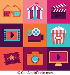 appartamento, vettore, cinema, icone