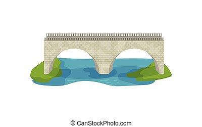 appartamento, vettore, disegno, di, mattone, bridge., grande, arco, footbridge., passerella, attraverso, il, river., costruzione, per, trasporto