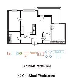 appartamento, vettore, disegno, piano, architetto, mobilia