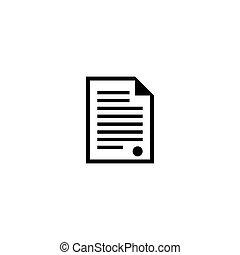 appartamento, vettore, documento, certificato, icona