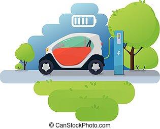 appartamento, vettore, elettrico, icone, caricatore, illustrazione, infographic, automobile, station., addebitare, rosso
