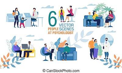 appartamento, vettore, famiglia, scene, psicologo, set, lavoro