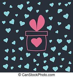 appartamento, vettore, heart., giftbox, illustrazione