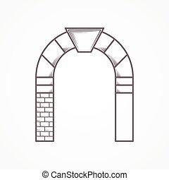 appartamento, vettore, linea, arco, rotondo, icona