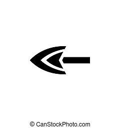 appartamento, vettore, punta freccia, icona