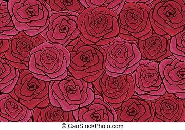 appartamento, vettore, rosso, illustrazione, rose