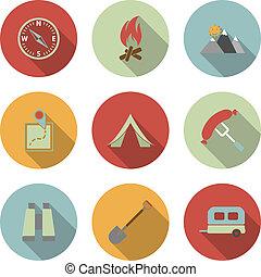 appartamento, vettore, set, campeggio, icone