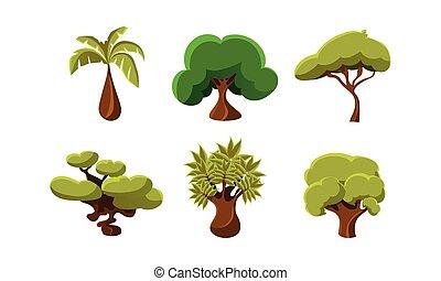 appartamento, vettore, set, di, 6, verde, alberi., oggetti, di, tropicale, forests., naturale, paesaggio, elementi, per, mobile, o, gioco computer