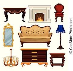 appartamento, vettore, set, di, vendemmia, furniture., anticaglia, divano, e, sedia, classico, caminetto, tavola, e, legno, nightstand, specchio parete, e, lampade