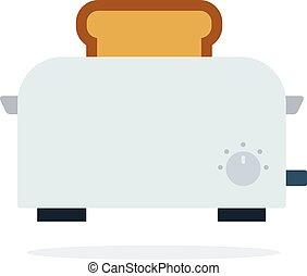 appartamento, vettore, tostapane, isolato, bread