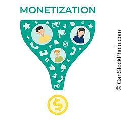 appartamento, vettore, traffico, illustrazione, monetization