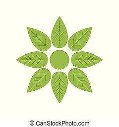 appartamento, vettore, verde, fiore, icona