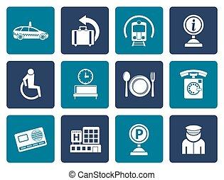 appartamento, viaggiare, aeroporto, icone
