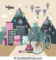 appartamento, viaggiare, concetto, disegno, bicicletta