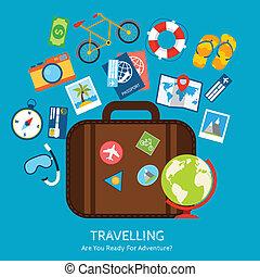 appartamento, viaggiare, concetto