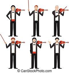 appartamento, violinistes, set, icone