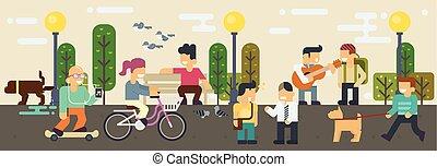 appartamento, vita, elementi, stile, libero, vettore, illustrazione, tempo