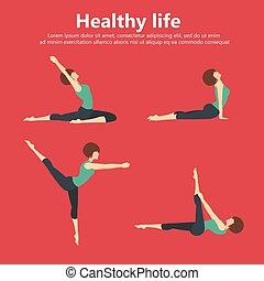 appartamento, vita, set, yoga, illustration., posizioni, sano, concept., vettore, ginnastica, idoneità, training., sport, recreation., icona