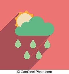 appartamento, web, icona, con, lungo, uggia, sole, nubi, pioggia