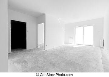 appartamento, windows, luce, arrangement., interno, nuovo, vuoto