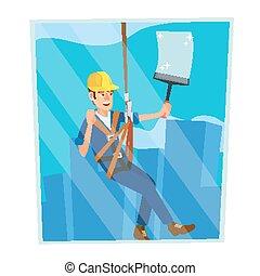 appartamento, windows., rischio, work., windows, lavoratore, moderno, carattere, isolato, illustrazione, alto, pulizia, vector., skyscraper., professionale, cartone animato