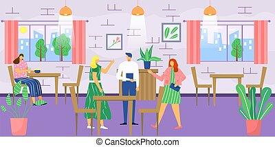 appartamento, women., affari, mangiare, interno, cibo, o, ...