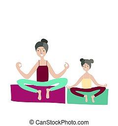 appartamento, yoga, famiglia, seduta, loto, attivo, madre, illustrazione, sport, articolazione, vettore, position., attività, attivo, figlia, bambini, style., recreation., fisico