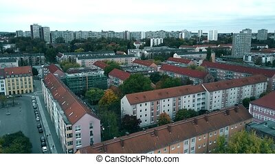 appartement, aérien, maisons, oder, allemagne, francfort, vue