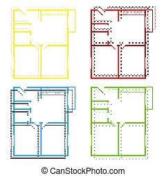 appartement, bleu, plancher, plans., maison, jaune, vert, vector., ic, rouges