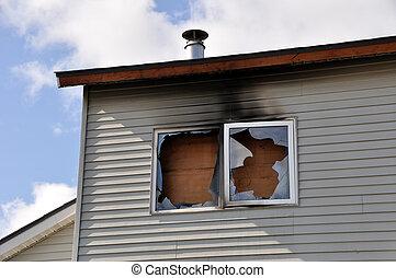 appartement, brûler, abîmer, complexe
