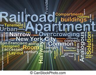 appartement, chemin fer, concept, incandescent, fond