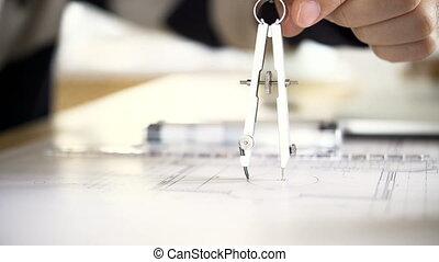 appartement, dessine, compas, maison, projet, architecte, paire, utilisation