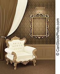 appartement, fauteuil, cadre, royal, luxueux, interior., salle, meubles