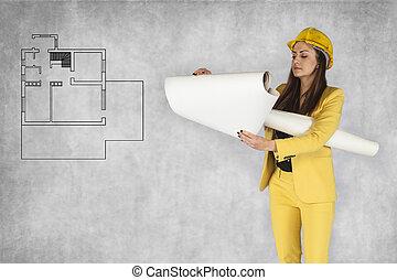 appartement, femme, plans, business, chèques