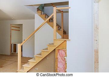 appartement, inachevé, sheetrock, construction, nouveau, intérieur, maison