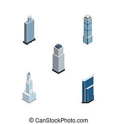 appartement, isométrique, ensemble, elements., urbain, inclut, aussi, vecteur, gratte-ciel, tour, objects., business, autre, cityscape