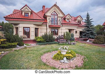 appartement, luxe, beauté, jardin