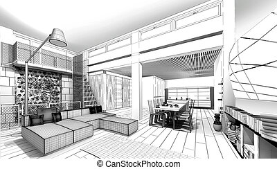 appartement modèle, wireframe, 3d