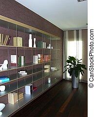 appartement, moderne, bibliothèque