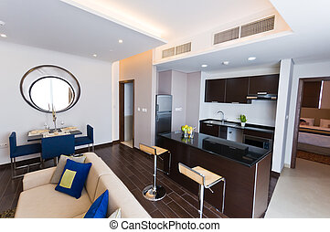 appartement, moderne, -, salon, intérieur, cuisine
