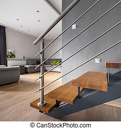 appartement, ouvert, escalier, plancher