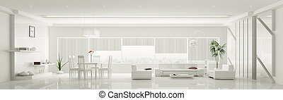 appartement, panorama, moderne, intérieur, blanc, 3d