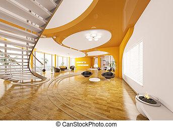 appartement, render, moderne, conception, intérieur, 3d